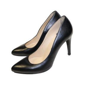 Stemar Black Leather Point Toe Heels